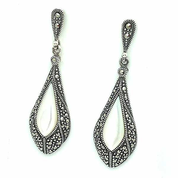 Earrings in sterling silver, mother of pearl and marcasites.