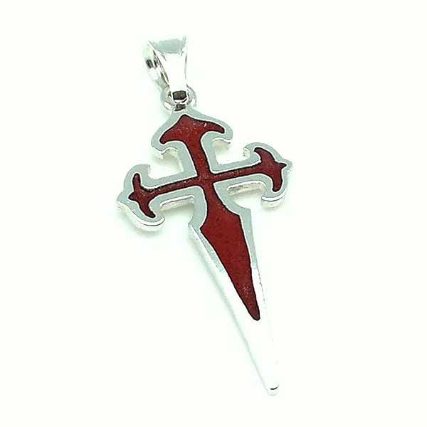 Colgante en plata de ley y esmalte al fuego, con la forma de la cruz de Santiago de Compostela.