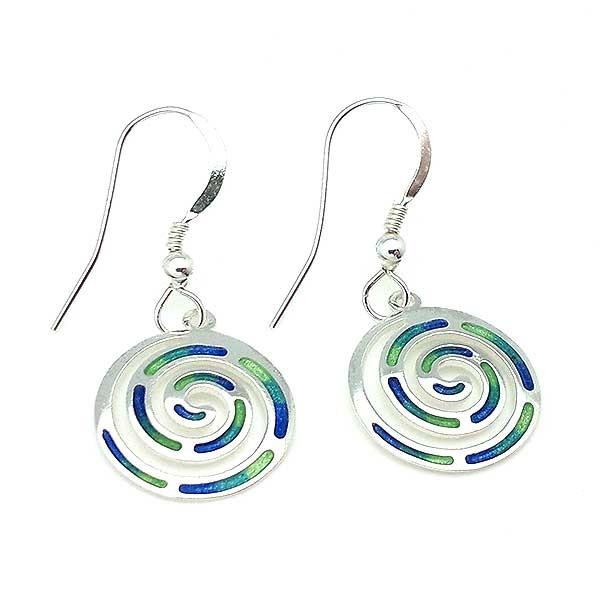 Pendientes con símbolo celta de la espiral, en plata y esmalte a fuego.