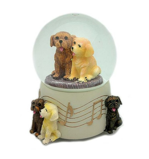 Snowball and musical with puppies.
