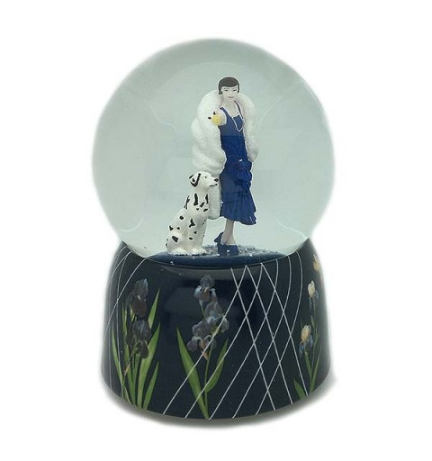 Snowball, in which we can see a lady, walking her Dalmatian.