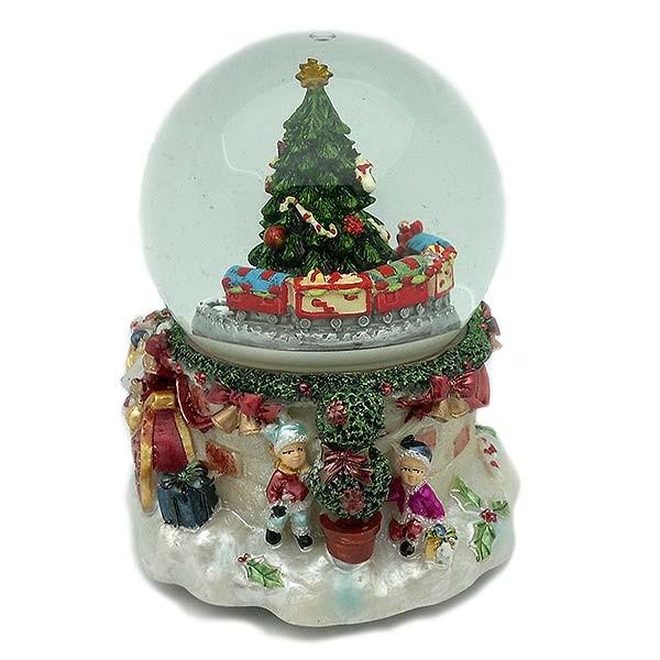 Bola de nieve, con motivos navideños y un tren.