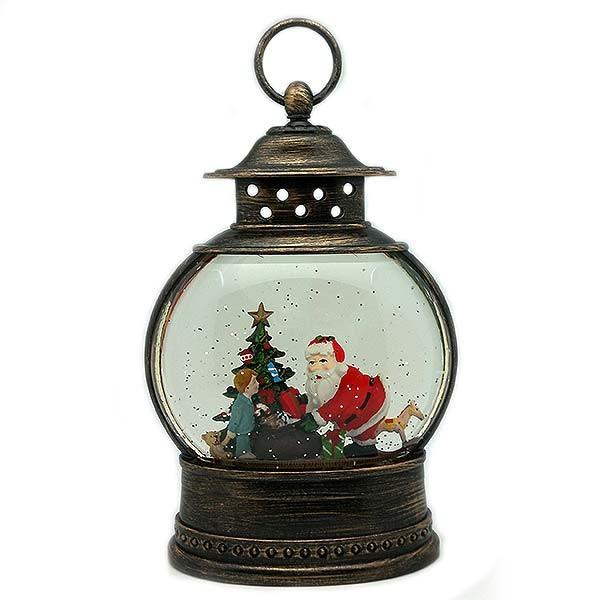 Farolillo navideño oval, con Papá Noel dándole un regalo a un niño.