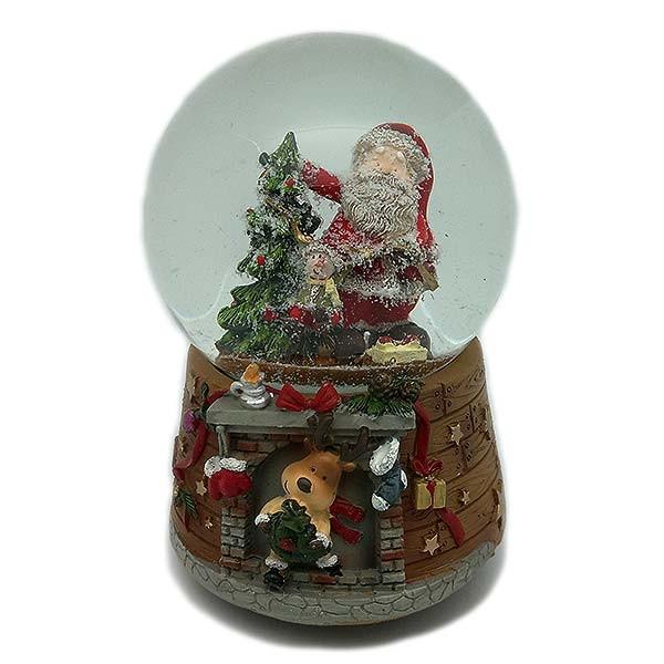 Bola de nieve musical, con papá Noel y árbol navideño.