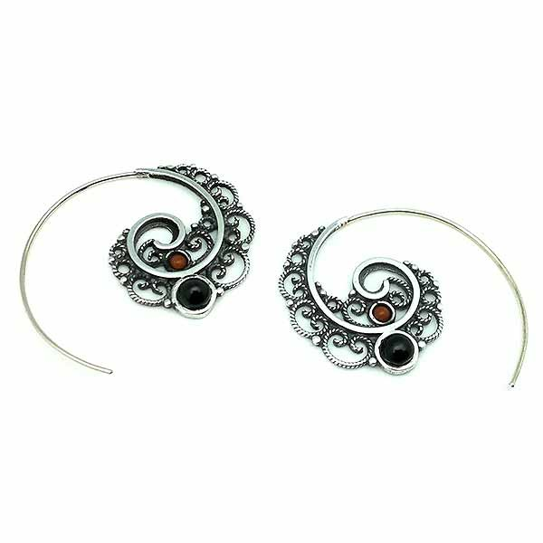 Medium size Balinese hoop earrings in sterling silver, jet and coral.