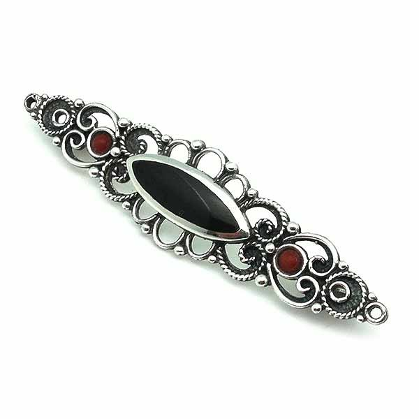 Sterling silver, jet and coral brooch