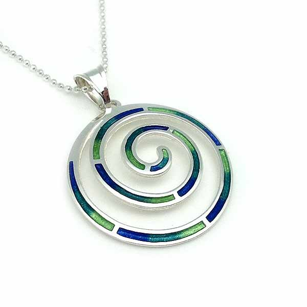 Celtic spiral-shaped pendant in sterling silver and fire enamel