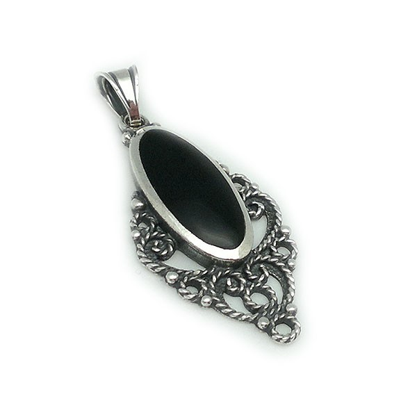 Pendant, made of sterling silver and jet.