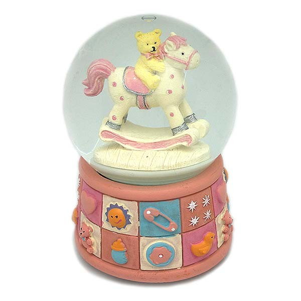 Pink snowball, with little horse and little bear.