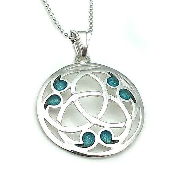 Celtic pendant, in the shape of a triquette, made of sterling silver and fire enamel.