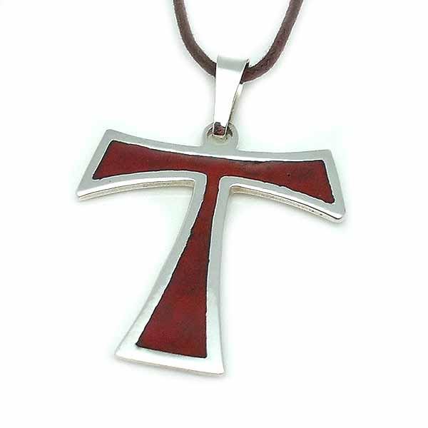Tau cross, in sterling silver and fire enamel.