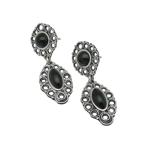 Handcrafted jet earrings