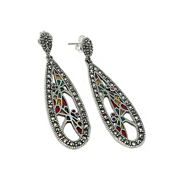Long earrings with marcasites