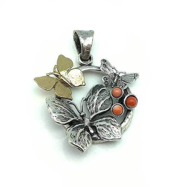 Butterfly pendant, in sterling silver, bronze and coral.