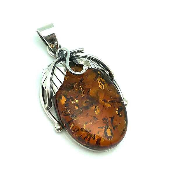 Pendant made of sterling silver and a beautiful natural amber.