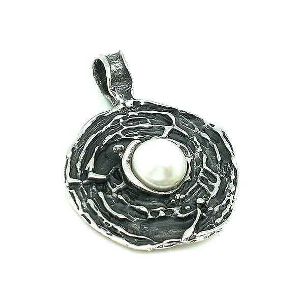 Baroque or contemporary style pendant, made of sterling silver and cultured pearl.