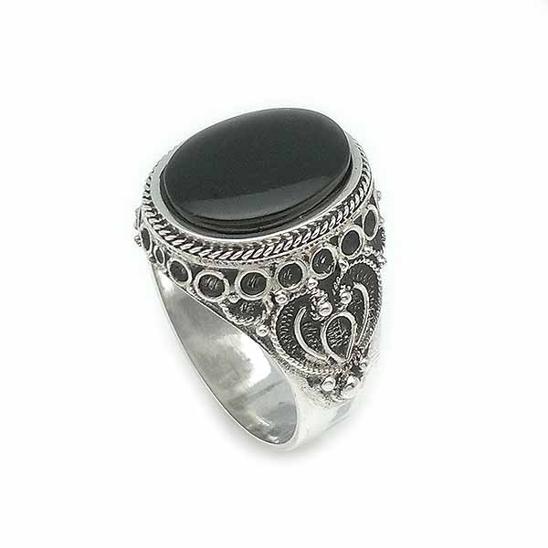 Unisex ring, silver and jet