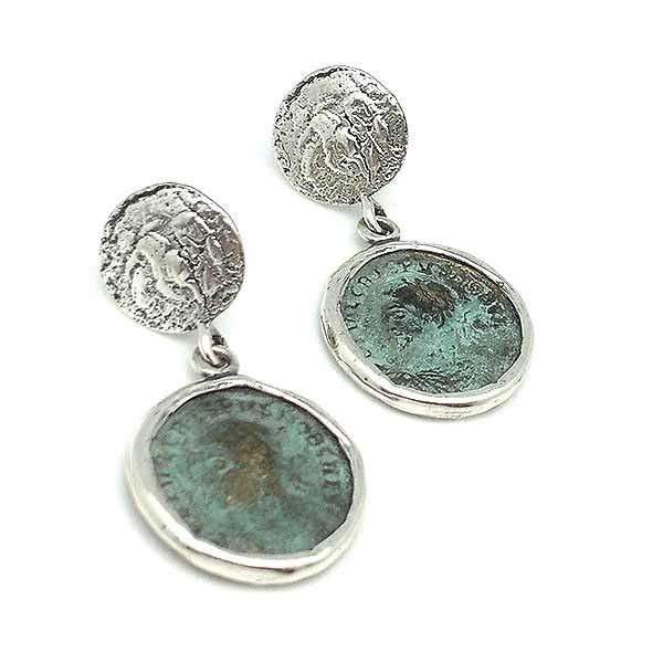 Pendientes con monedas romanas, elaborados en plata de ley y bronce