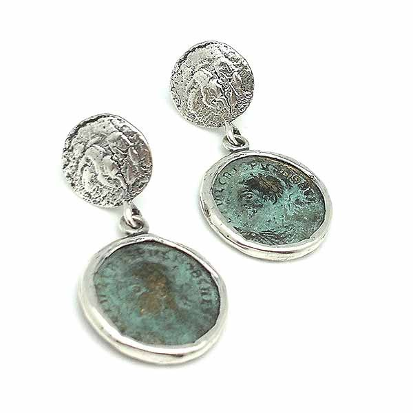 Earrings with Roman coins, made of sterling silver and bronze