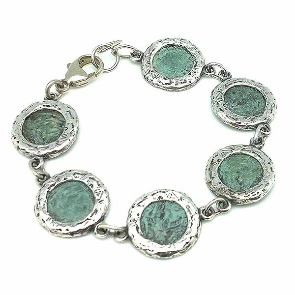 Bracelet in sterling silver and bronze, with Roman coins.