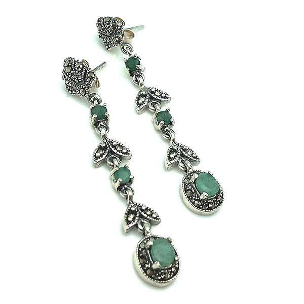 Long earrings, sterling silver, marcasites and emeralds.