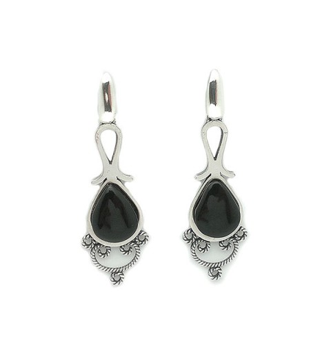 Jet and sterling silver earrings, with modern style.