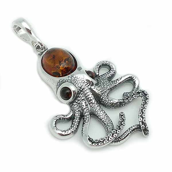 Octopus-shaped pendant, in sterling silver and amber.
