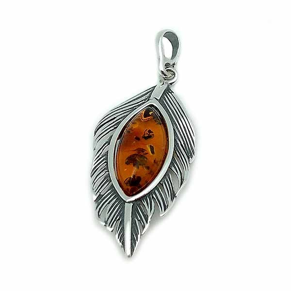 Leaf pendant, in silver and amber.