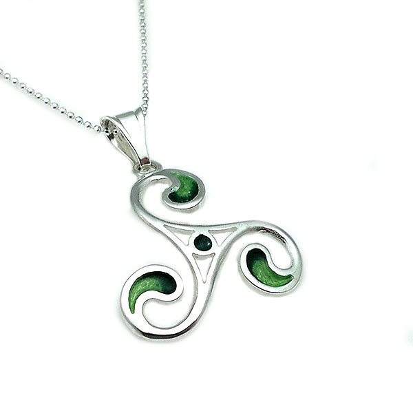 Triskelion shaped pendant, in sterling silver and fired enamel in green tones.