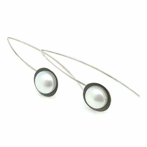 Pendientes largos con perla cultivada
