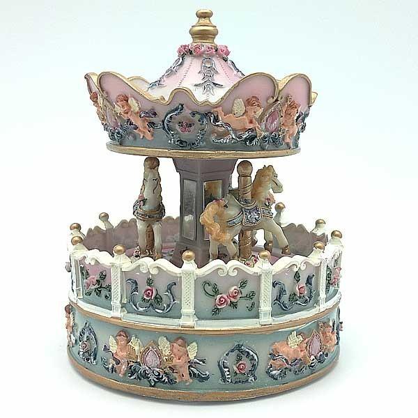Musical carousel horses.