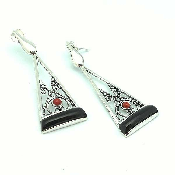 Earrings Sterling silver and jet black