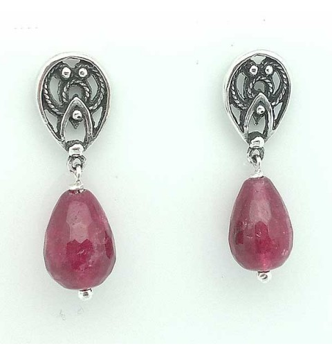Pendentes Sterling Silver and Red Quartz