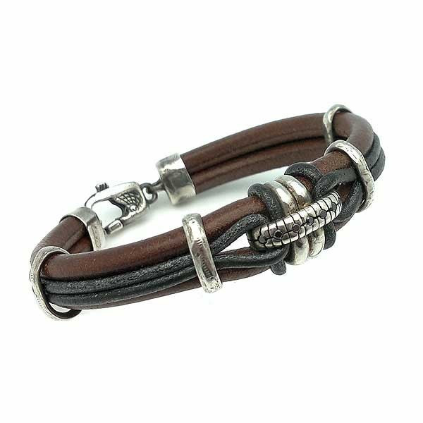 Bracelet Leather and Sterling Silver