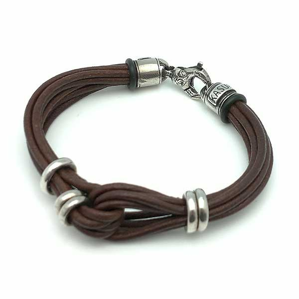 Leather and Silver Bracelet Sterling