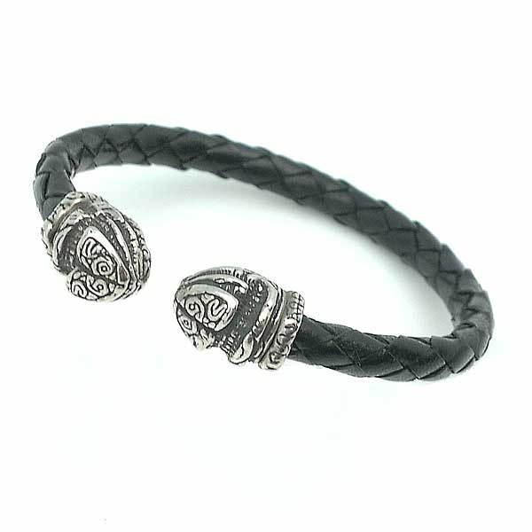 Unisex Bracelet Leather and Silver