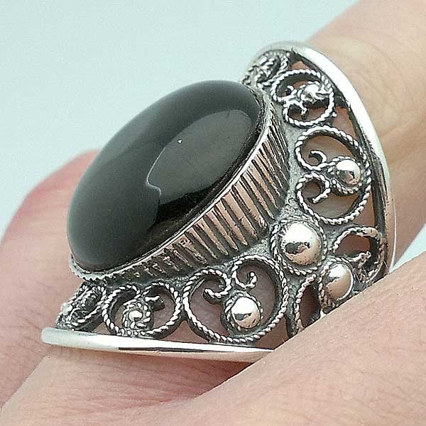 Ring Sterling Silver and Jet