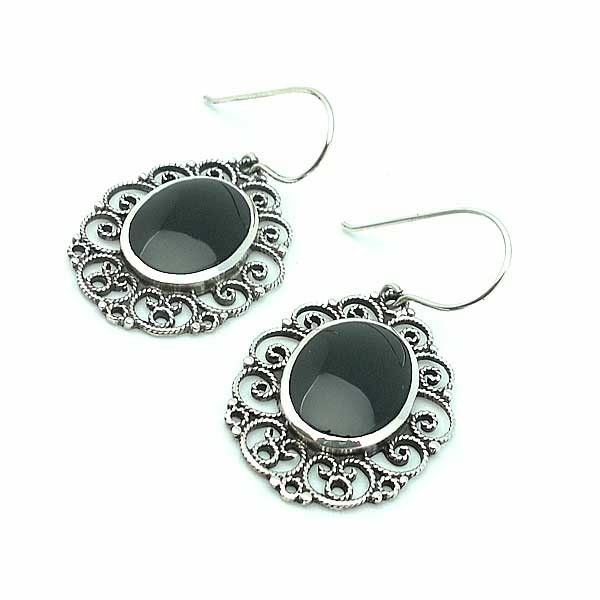 Earrings Silver and Jet