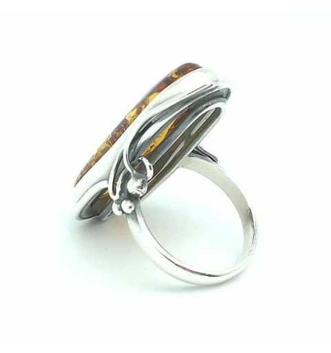 Ring Sterling Silver and Amber