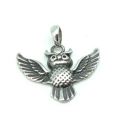 Lucky Owl Pendant in Sterling Silver