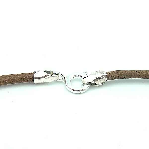 Brown cord with silver clasp