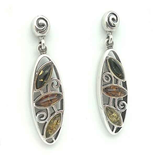 Earrings sterling silver and amber