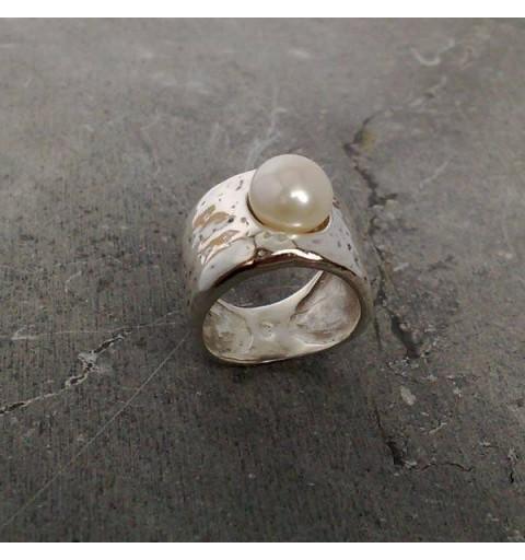 Anillo ancho Perla cultivada