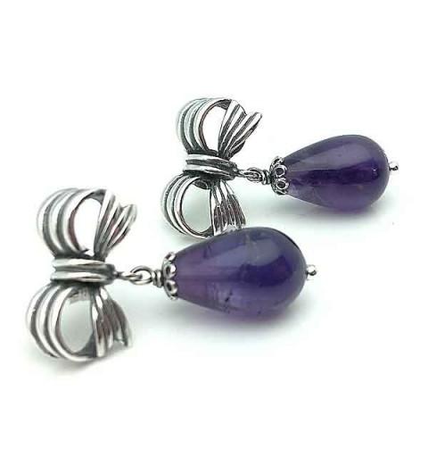 Earrings sterling silver and amethyst
