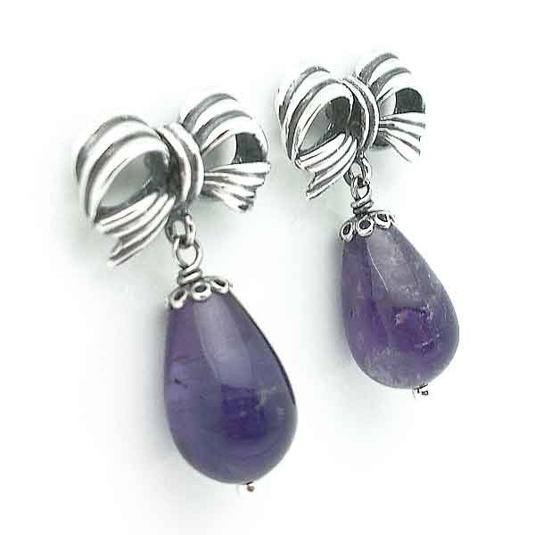 Earrings sterling silver and amethyst