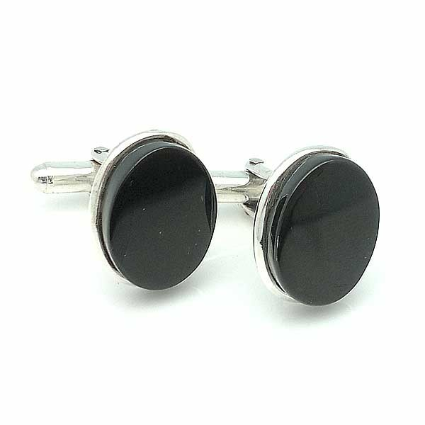 Silver and jet Cufflinks