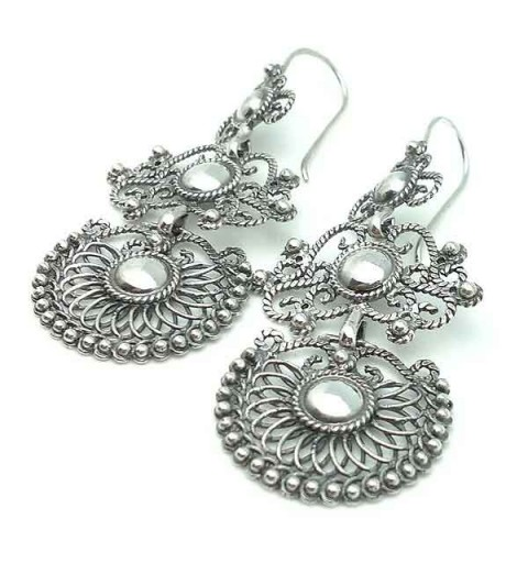 Long earrings, old silver