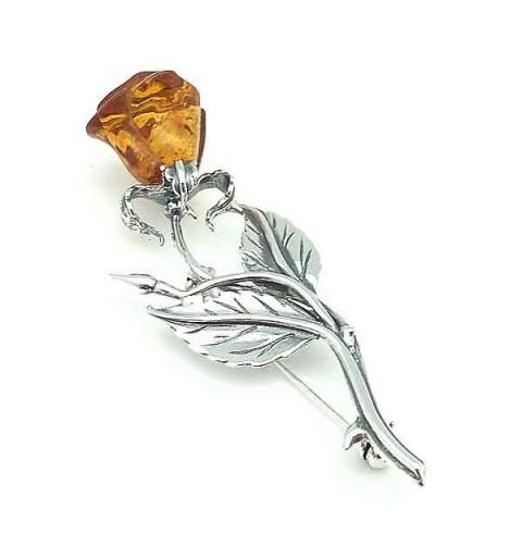 Amber Flower Brooch