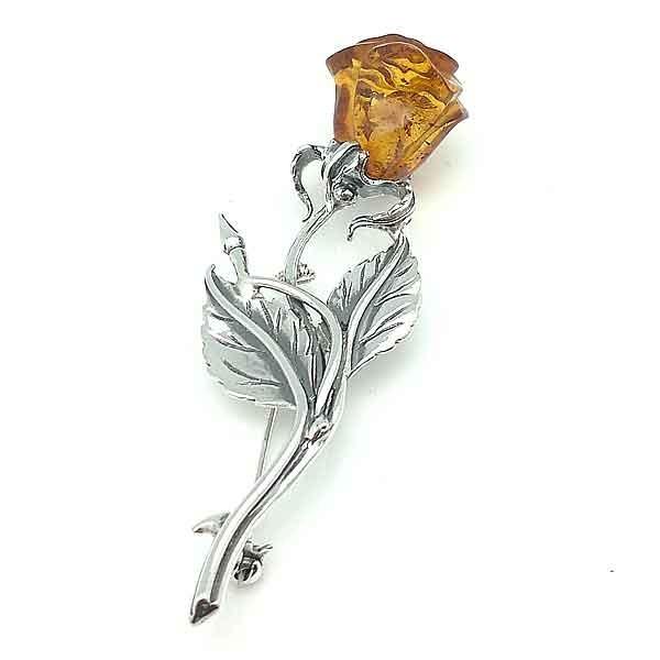 Broche con flor de Ámbar