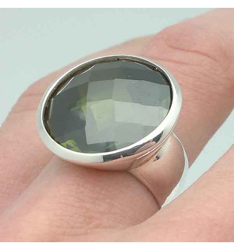 Silver ring and tone olive green zirconia